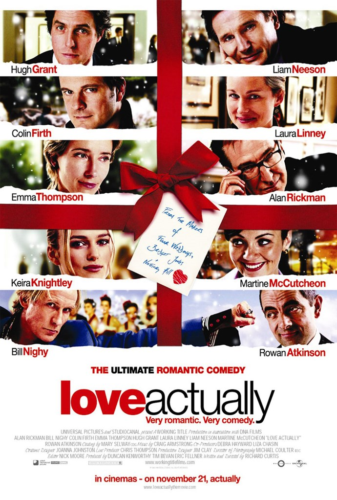 Beloved romantic comedy *Love Actually* follows the twists and turns of nine different story lines as each character tries to get to grips with the complexities of love during the holiday season.