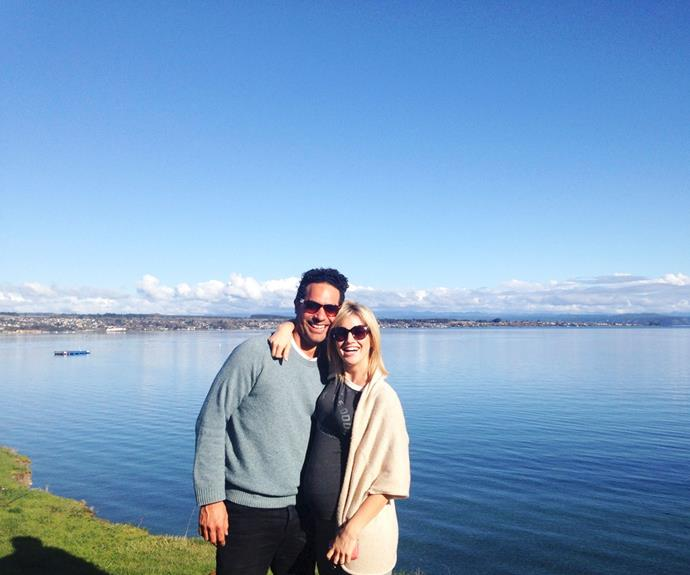 """""""We couldn't imagine life without Thea now,"""" says Ali, on holiday with Jo at Lake Taupo before their new arrival."""
