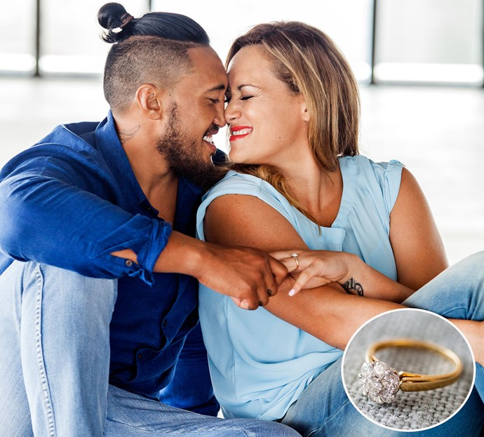 Silver Fern Cathrine Latu's long-time love Jim Tuvaiti chose a diamond sparkler on a gold band for his romantic proposal. Photo: Woman's Day