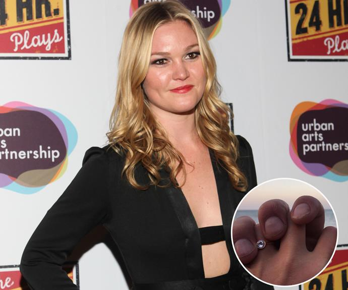 "Julia Stiles showed off her engagement bling on Instagram, writing ""Best Christmas Ever!"""