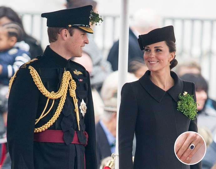 The Duchess of Cambridge's stunning £1 million sapphire and diamond engagement ring previously belonged to the late Princess Diana. Photo: Getty