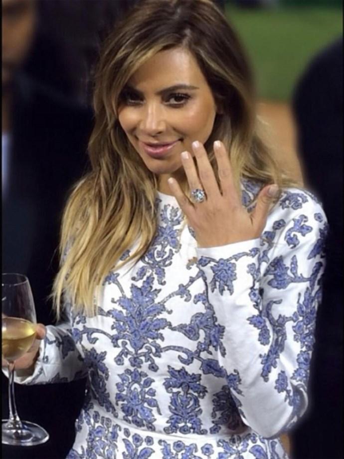 Kanye West designed Kim Kardashian's $1.6 million 15-carat engagement ring, seen here in a photo captured by Kim's bestie Jonathan Cheban.