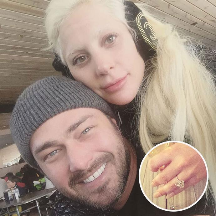 Lady Gaga's actor fiance Taylor Kinney popped the question with a sparkling heart-shaped engagement ring on Valentine's Day last year! Photo: Instagram