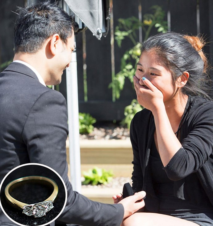 *The Block NZ*'s Sarah Kong was totally shocked to see boyfriend Neth go down on one knee in the backyard of house two! The lovebirds had to keep their engagement a secret until the magical moment aired on TV.