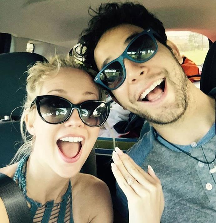 *Pitch Perfect* co-stars Anna Camp and Skylar Astin announced they were engaged over the weekend. Check out Anna's gorgeous bling! Photo: Instagram