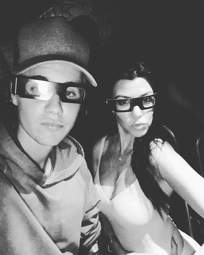 Justin set tongues wagging with this picture of himself and Kourtney last year. Source: Instagram