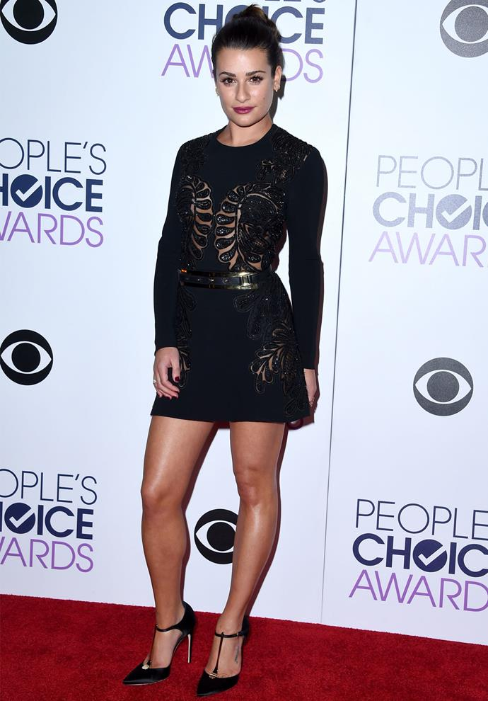 Lea Michele wore a black Elie Saab dress with sheer detailing. Photo: Getty