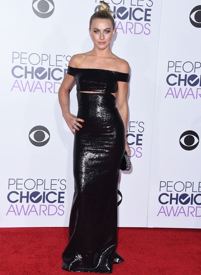 Dancer and actress Julianne Hough chose a slinky black gown with sultry cut-outs by Kaufmanfranco. Photo: Getty