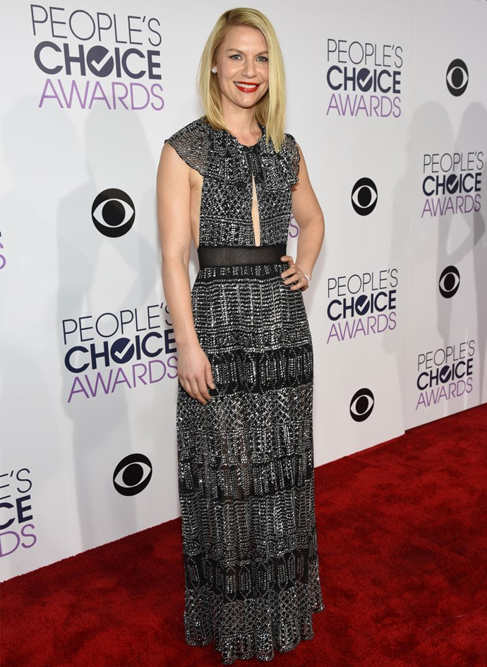 *Homeland* actress Claire Danes stunned in a floor-length gown with a keyhole cutout and sheer panels. Photo: Getty