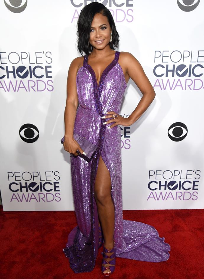 Christina Milian shimmered in this lavender number and coordinating clutch. Photo: Getty