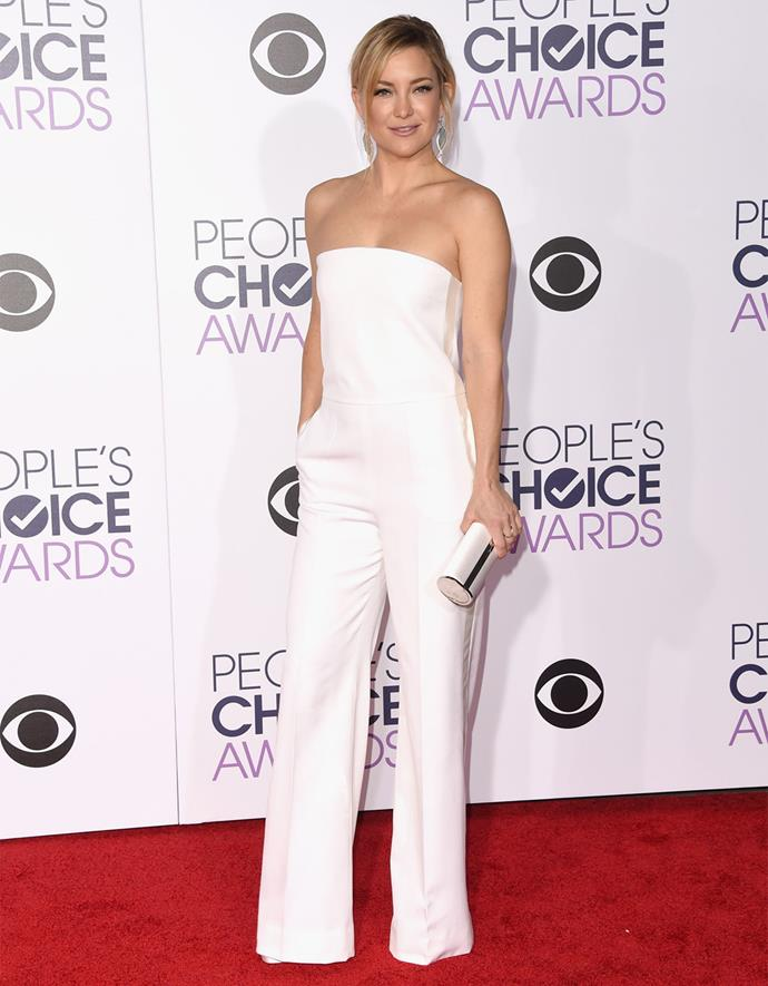 Kate Hudson looked white-hot in this strapless white jumpsuit. Photo: Getty