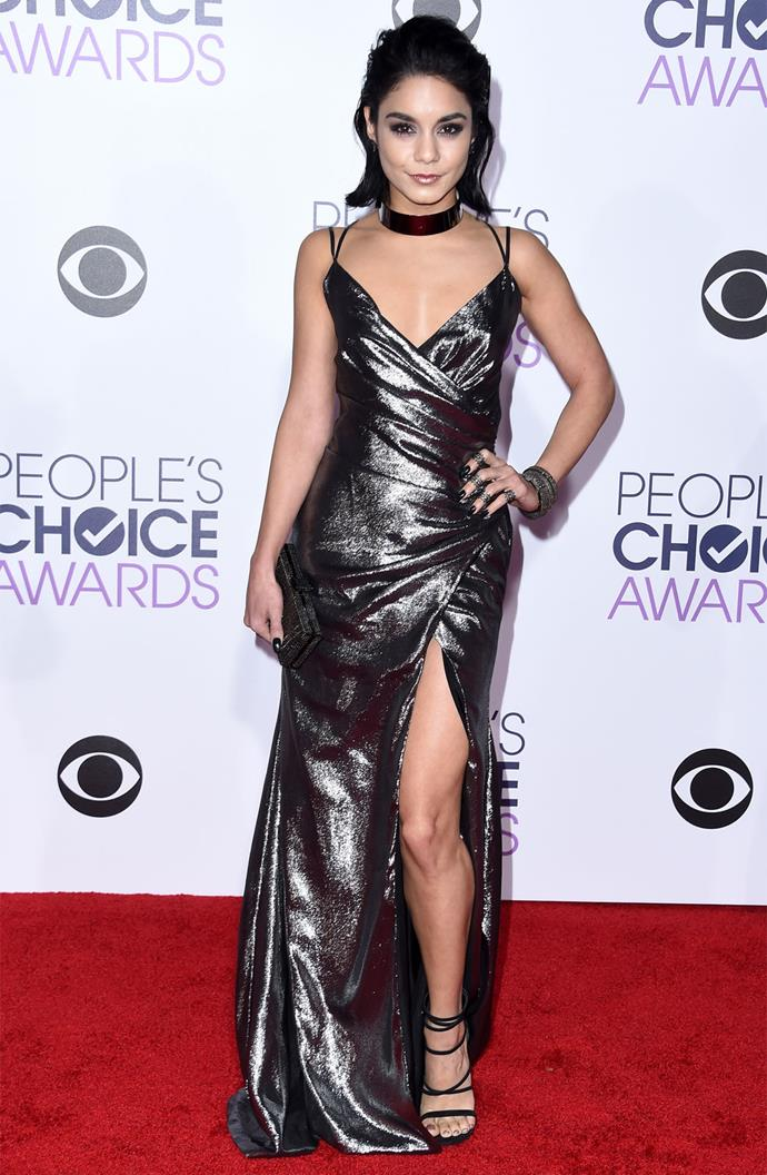 Vanessa Hudgens looked fierce in a slinky gunmetal gown by Kayat. Photo: Getty