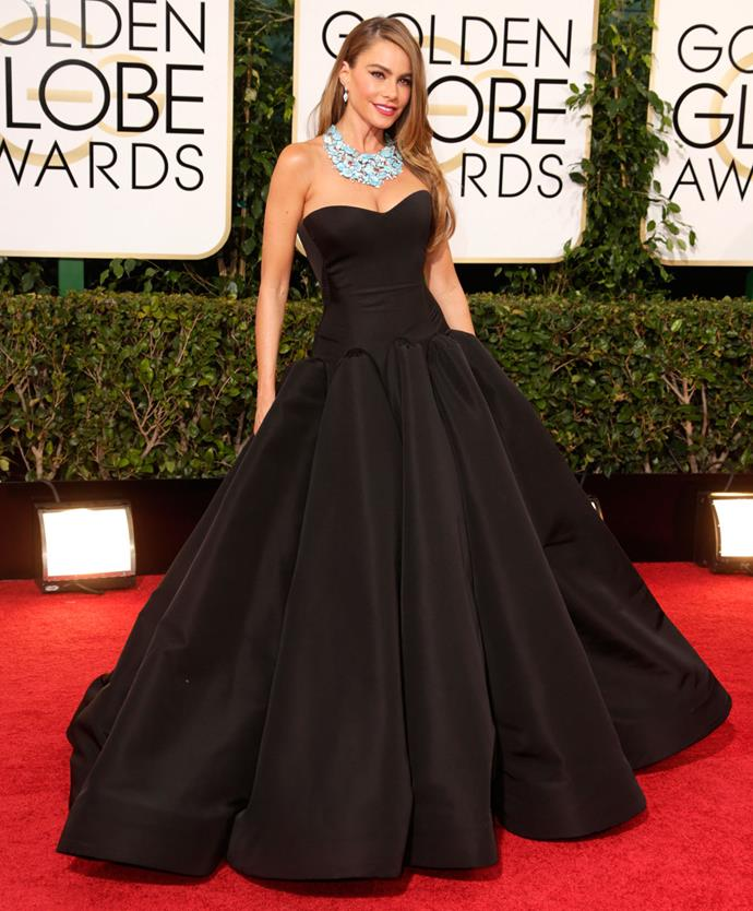 Sofia Vergara in Zac Posen at the 2014 Golden Globes. Photo: Getty