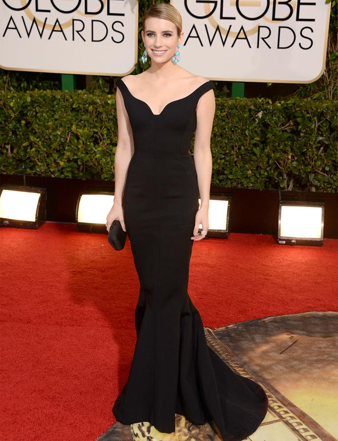 Emma Roberts in Lanvin at the 2014 Golden Globes. Photo: Getty