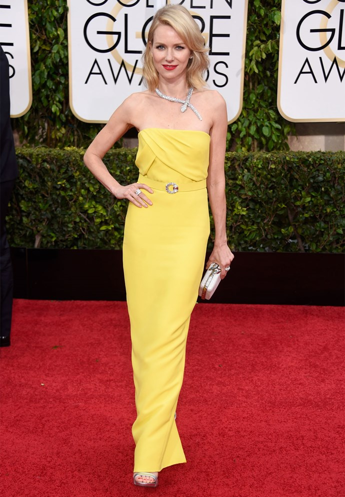 Naomi Watts in Gucci (with Bulgari jewels) at the 2015 Golden Globes. Photo: Getty