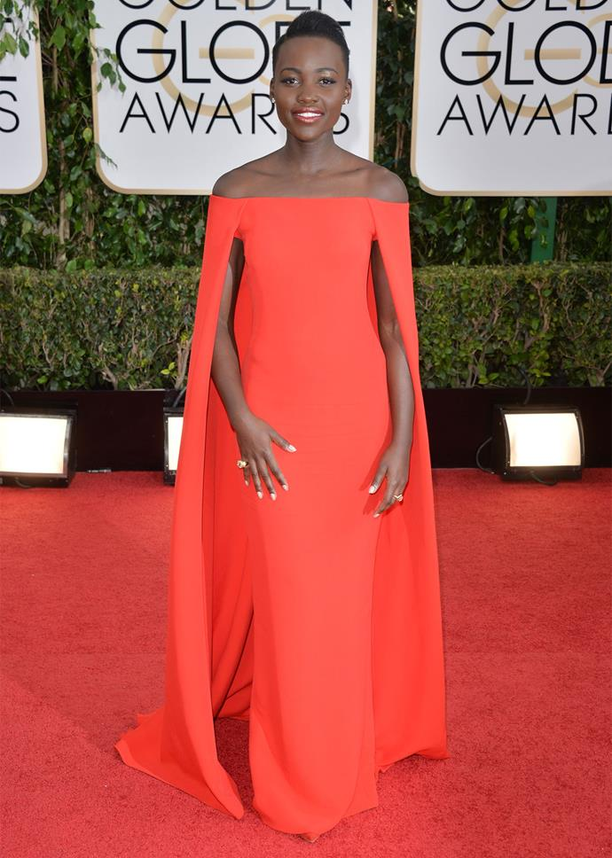 Lupita Nyong'o in Ralph Lauren at the 2014 Golden Globes. Photo: Getty