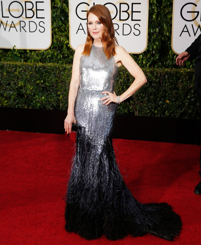 Julianne Moore in Givenchy at the 2015 Golden Globes. Photo: Getty