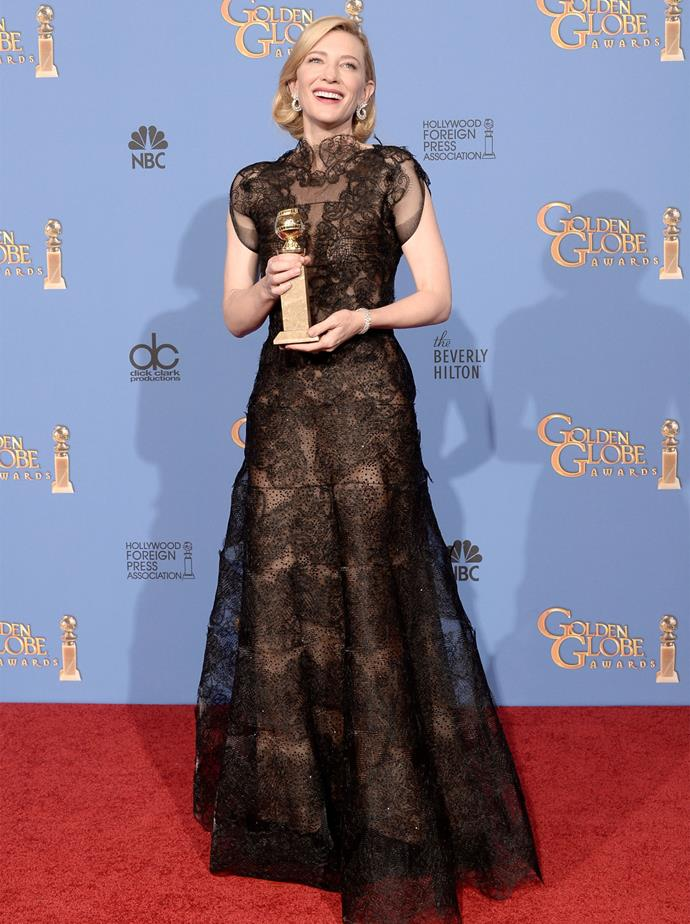 Cate Blanchett in Armani Prive at the 2014 Golden Globes. Photo: Getty