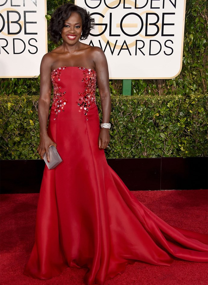 Viola Davis in Donna Karan Atelier at the 2015 Golden Globes. Photo: Getty