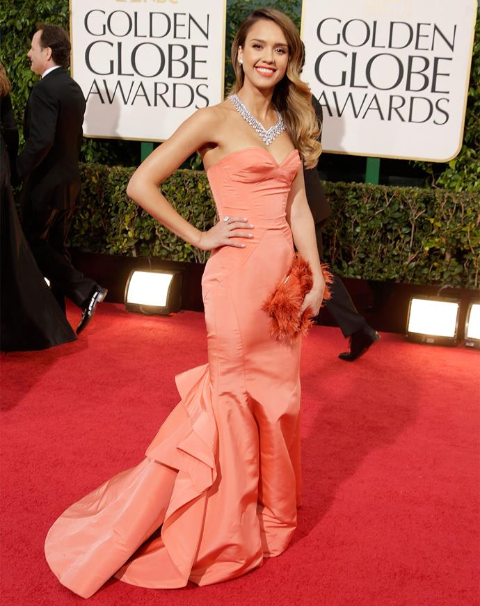 Jessica Alba in Oscar de la Renta at the 2013 Golden Globes. Photo: Getty