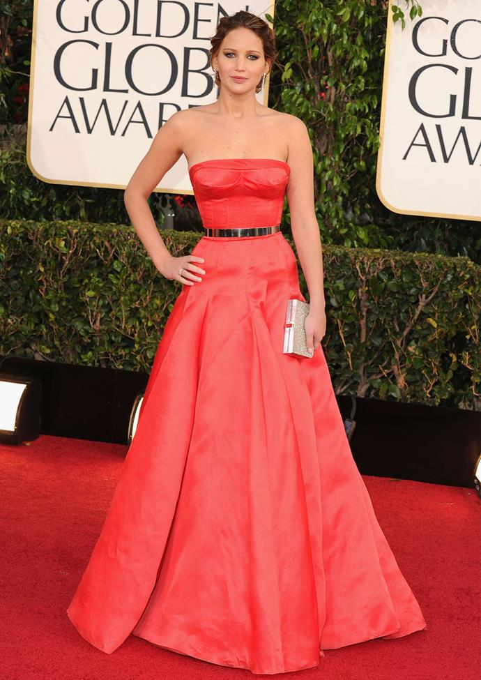 Jennifer Lawrence in Christian Dior at the 2013 Golden Globes. Photo: Getty