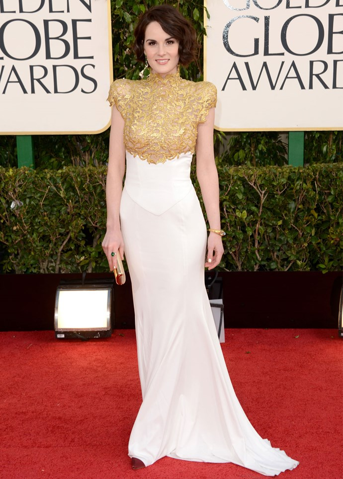 *Downton Abbey* star Michelle Dockery in Alexandre Vauthier at the 2013 Golden Globes. Photo: Getty