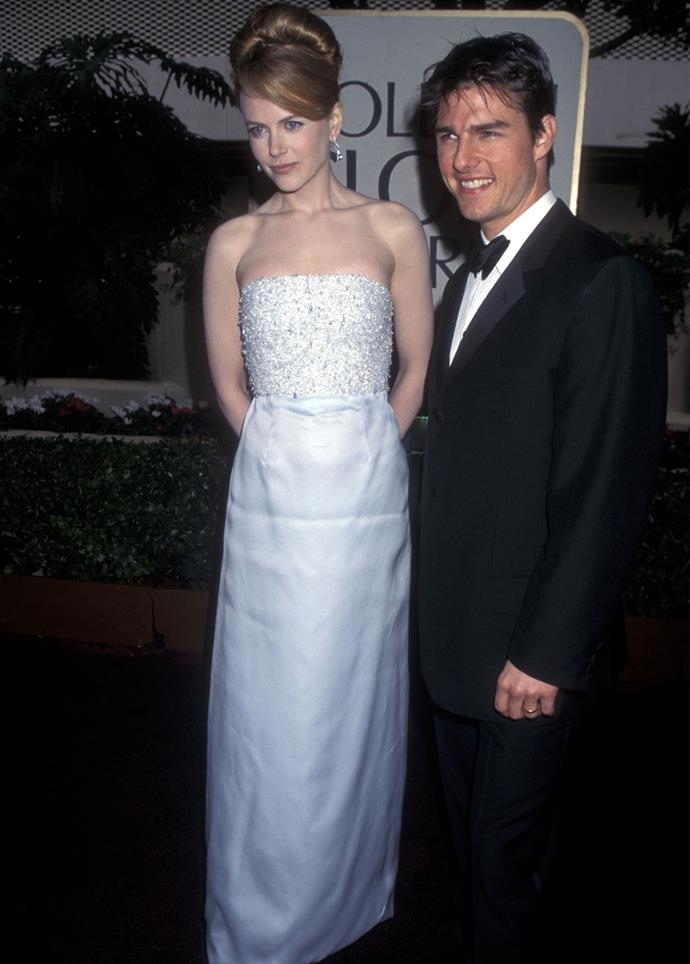 Nicole Kidman with Tom Cruise at the 1996 Golden Globes. Photo: Getty