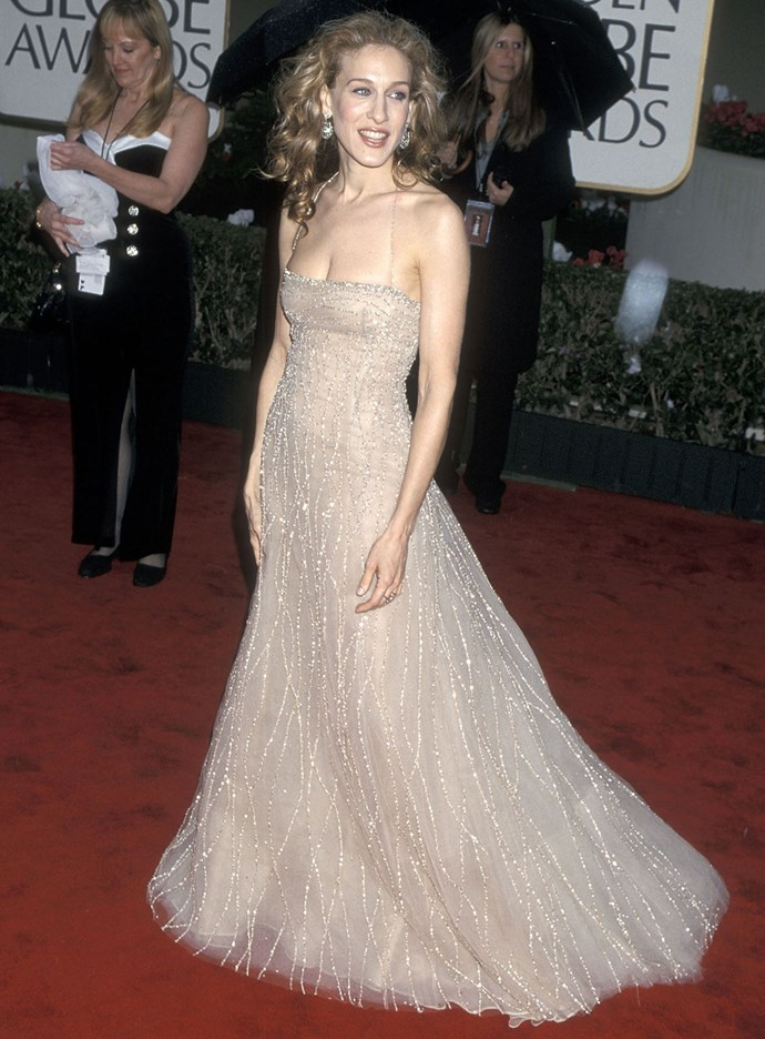 Sarah Jessica Parker at the Golden Globes in 2000. Photo: Getty