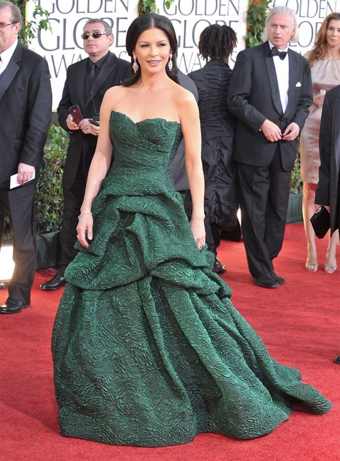Catherina Zeta-Jones in Monique Lhuillier at the 2011 Golden Globes. Photo: Getty