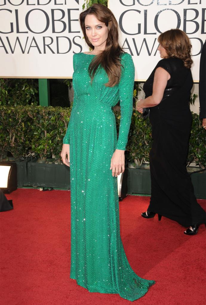 Angelina Jolie in Versace at the 2011 Golden Globes. Photo: Getty