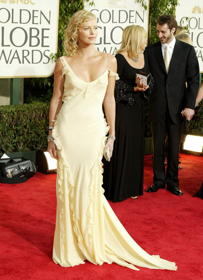 Charlize Theron in Christian Dior at the 2004 Golden Globes. Photo: Getty