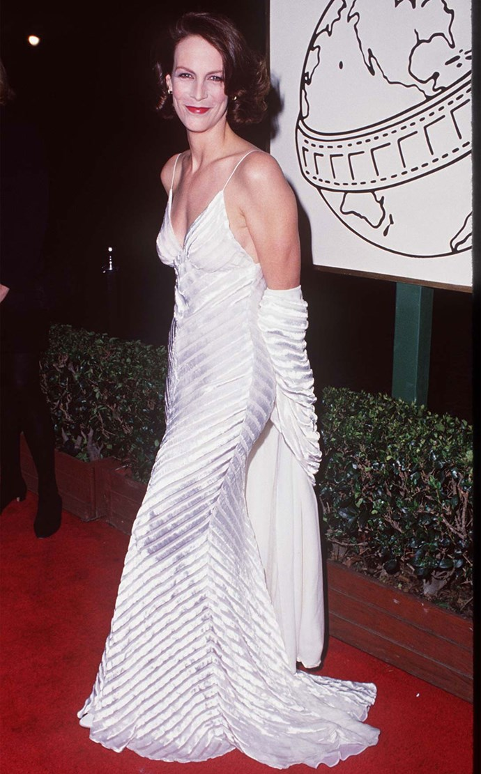 Jamie Lee Curtis at the 1995 Golden Globes. Photo: Getty