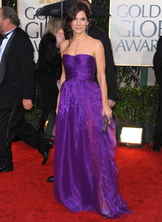 Sandra Bullock in Bottega Veneta at the 2010 Golden Globes. Photo: Getty
