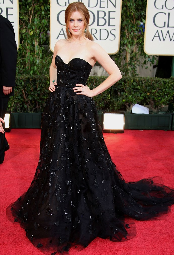 Amy Adams in Oscar de la Renta at the 2009 Golden Globes. Photo: Getty