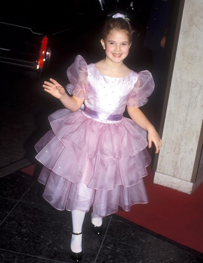 A young Drew Barrymore at the Golden Globes in 1983.