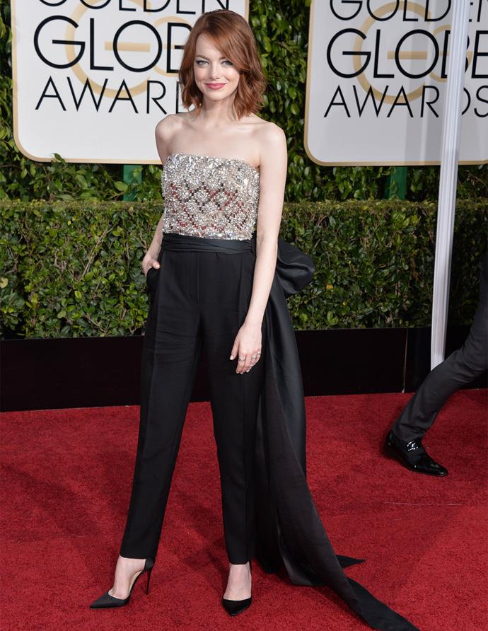 Emma Stone in Lanvin at the 2015 Golden Globes. Photo: Getty