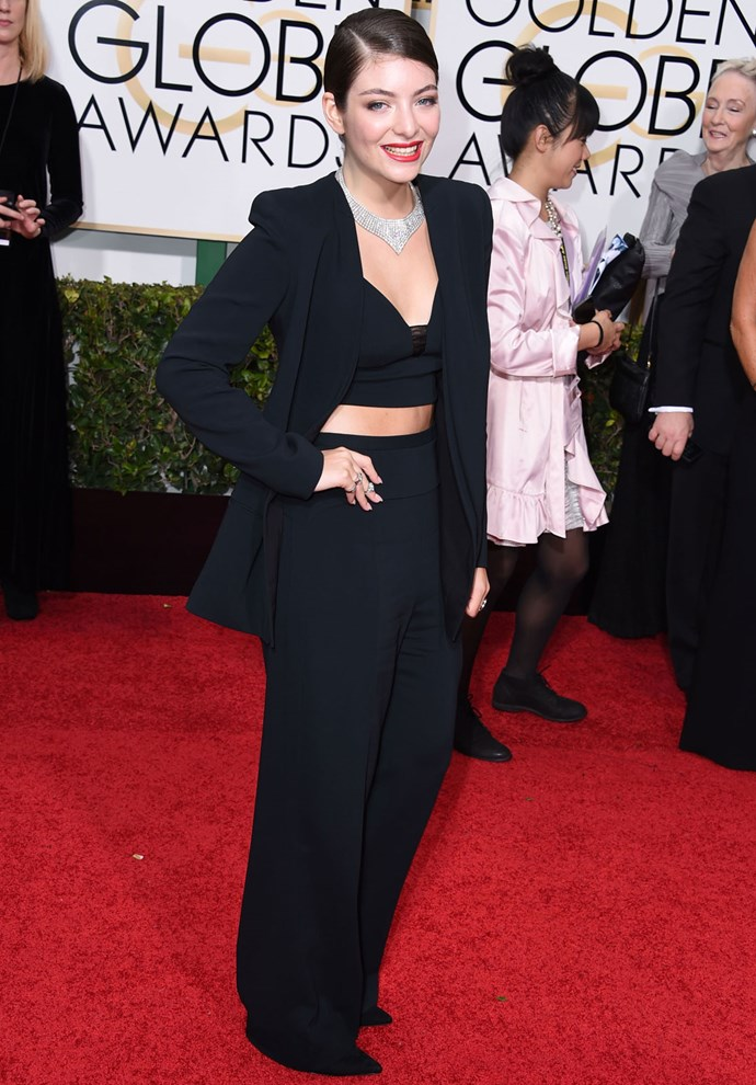 Lorde in Narciso Rodriguez at the 2015 Golden Globes. Photo: Getty