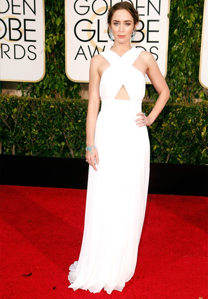 Emily Blunt in Michael Kors at the 2015 Golden Globes. Photo: Getty