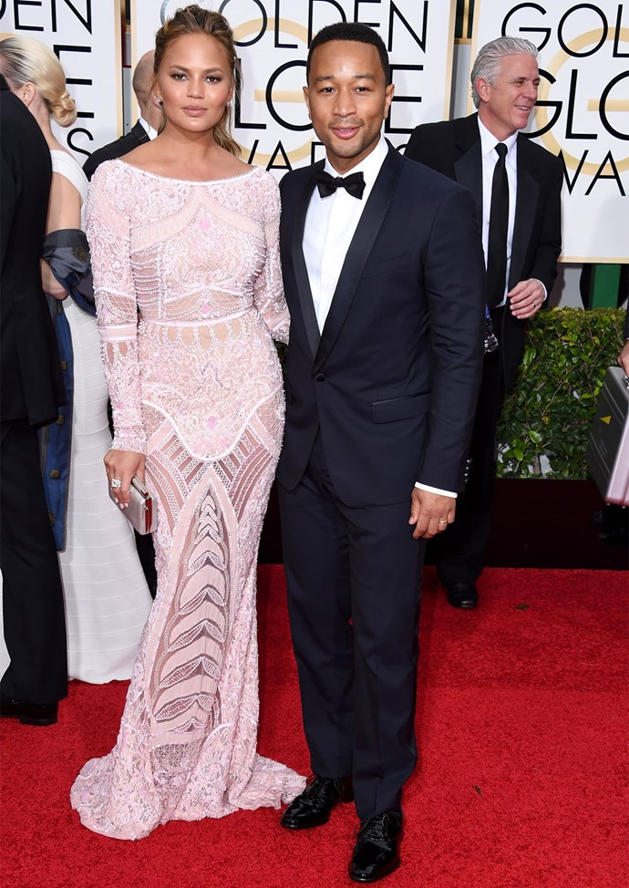Chrissy Teigen in Zuhair Murad at the 2015 Golden Globes. Photo: Getty