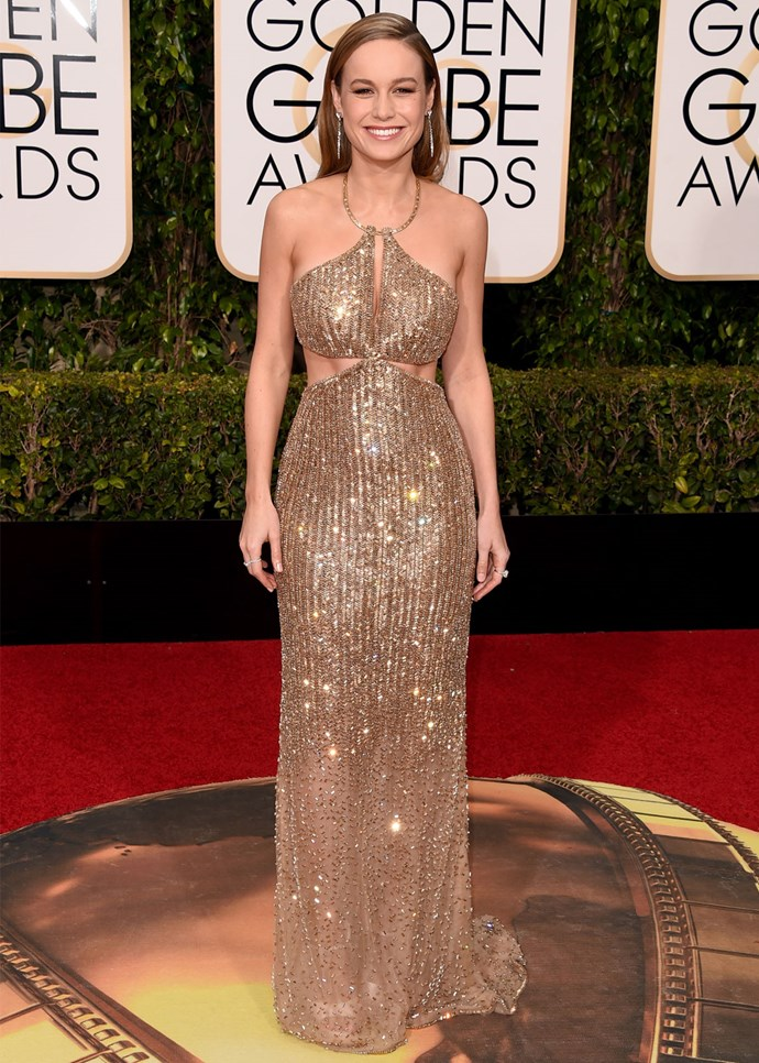 Brie Larson in custom Calvin Klein at the 2016 Globes. Photo: Getty