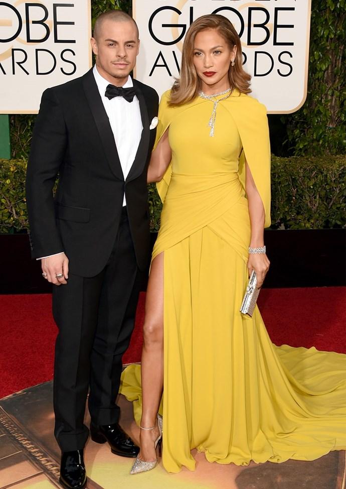 Jennifer Lopez in Giambattista Valli at the 2016 Golden Globes. Photo: Getty
