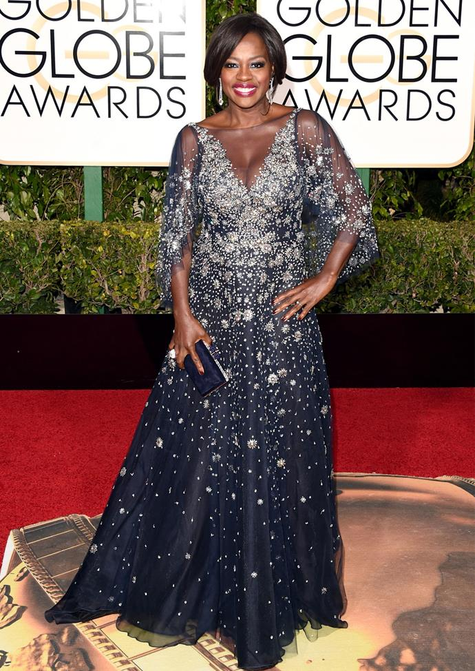 Viola Davis in Marchesa at the 2016 awards. Photo: Getty