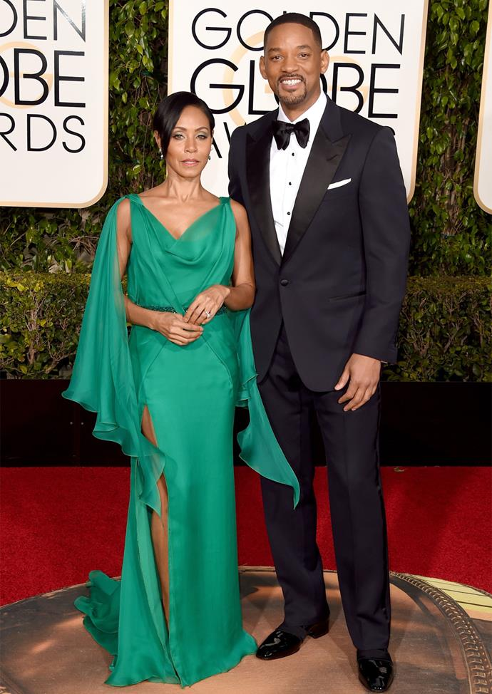 Will Smith and Jada Pinkett-Smith (in Versace).