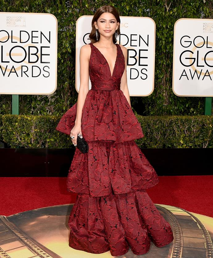 Zendaya donned a Marchesa gown for the 2016 Golden Globes. Photo: Getty