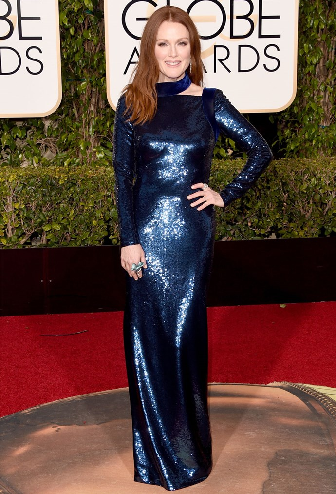 Julianne Moore in a Tom Ford gown at the 2016 Golden Globes. Photo: Getty