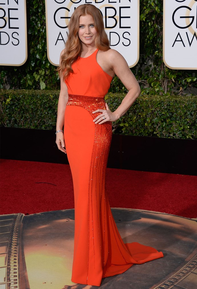 Amy Adams in Atelier Versace at the 2016 Golden Globes. Photo: Getty