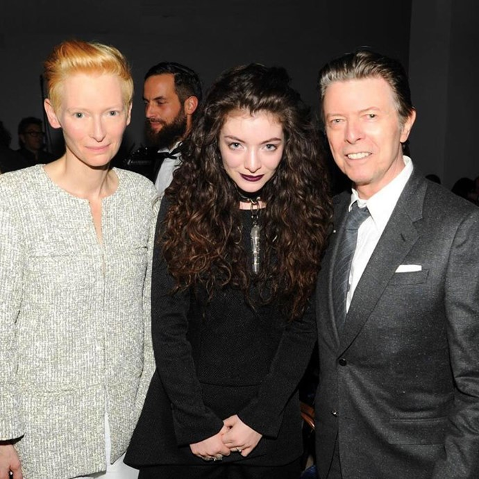 Lorde with actress Tilda Swinton and David Bowie in 2013. Photo: Facebook