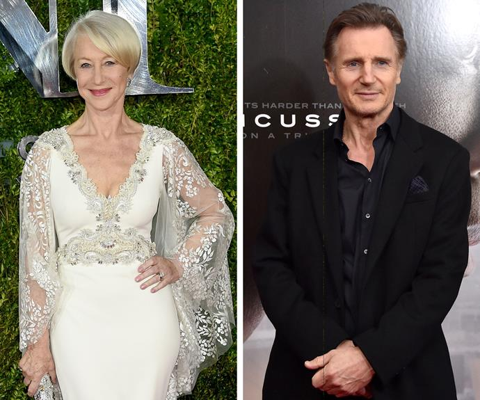 Helen Mirren and Liam Neeson starred together in 1981's *Excalibur* and fell in love as the cameras rolled. For a time, the pair even lived together, although the two would later go on to marry other people.