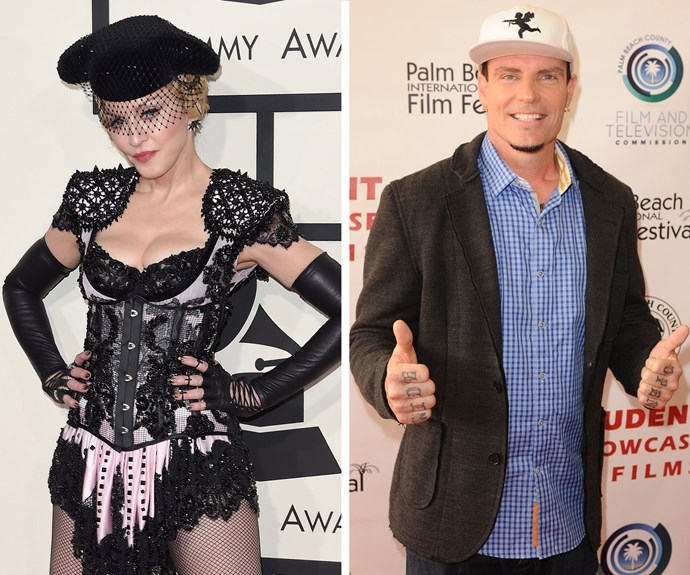 Rapper Vanilla Ice and Madonna dated for eight months before parting ways in 1992, although not before he posed for a raunchy photo in the Material Girl's book *Sex*.