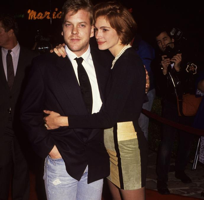 Julia Roberts and Kiefer Sutherland dated for over a year after meeting on the set of the 1990 film *Flatliners*. The loved-up couple were even set to wed, but Julia broke off the engagement amidst rumours that Kiefer had cheated on her with a stripper. She was soon spotted with actor Jason Patric, although that romance fizzled out too.